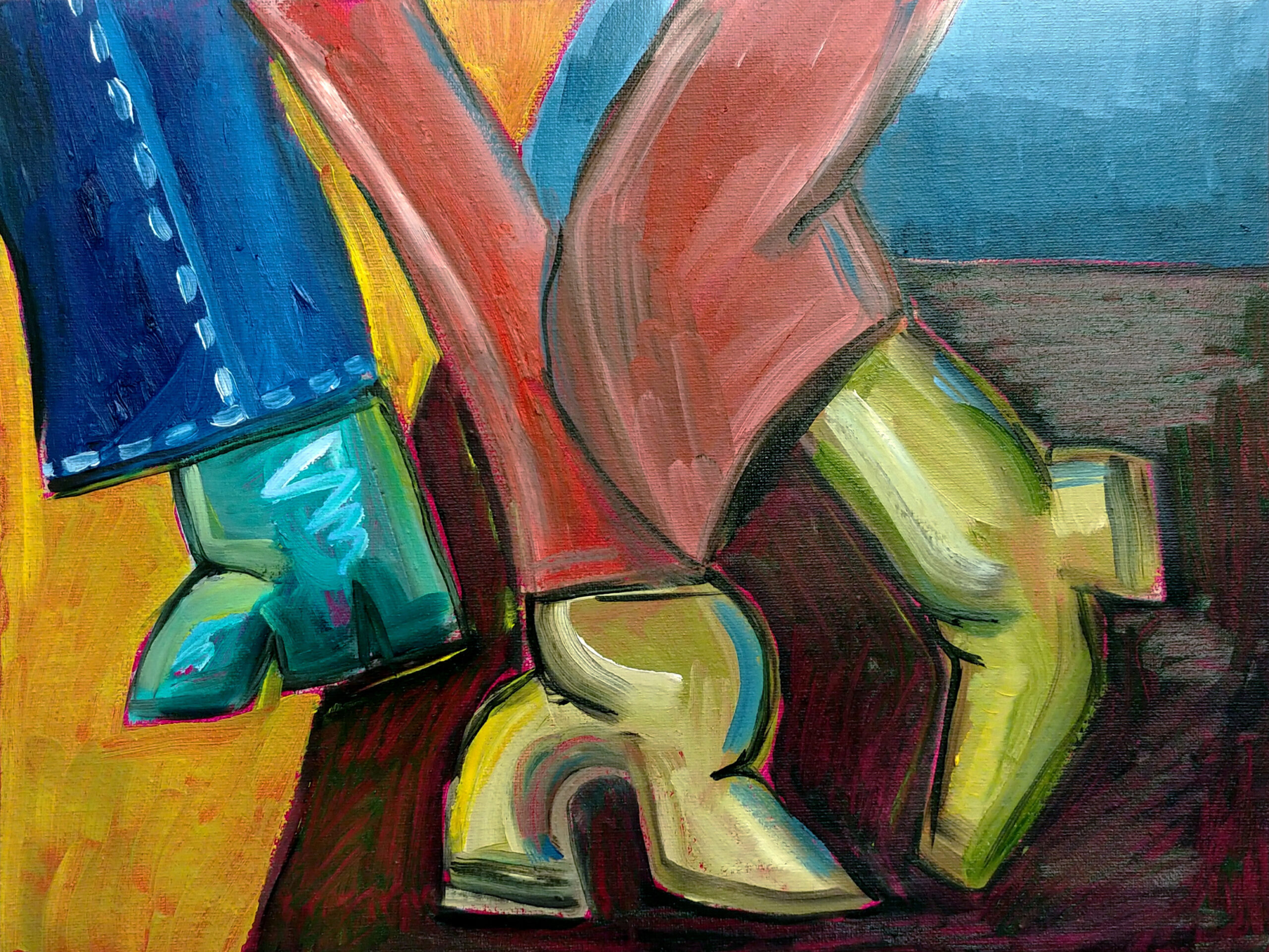 Boots on the dance floor study (2020)Oil on canvas9
